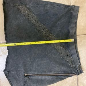 Free People Size Small Grey Charcoal Zipper Skirt